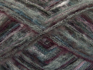 Fiber Content 37% Kid Mohair, 35% Acrylic, 28% Polyamide, Turquoise, Maroon, Lilac, Brand Ice Yarns, Grey Shades, fnt2-64667