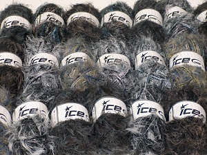 Eyelash Blends This mixed lot includes a total of 2000 gr (70.5 oz.) unlabeled yarn. There is no standard for ball weight. You will get what you see in the photo. Brand Ice Yarns, fnt2-64737