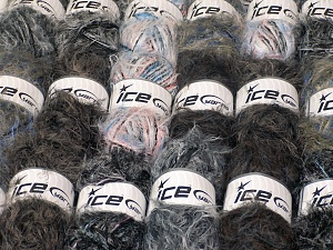 Eyelash Blends This mixed lot includes a total of 2000 gr (70.5 oz.) unlabeled yarn. There is no standard for ball weight. You will get what you see in the photo. Brand Ice Yarns, fnt2-64739