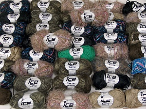 Eyelash Blends This mixed lot includes a total of 2000 gr (70.5 oz.) yarn. There is no standard for ball weight. Also disregard any information on the labels. You will get what you see in the photo. Brand Ice Yarns, fnt2-64847