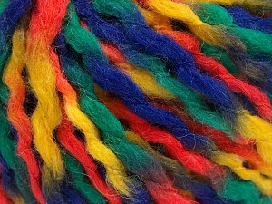 Fiber Content 60% Acrylic, 30% Wool, 10% Mohair, Yellow, Orange, Navy, Brand Ice Yarns, Green, fnt2-65262