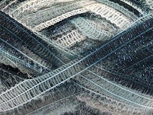 Fiber Content 50% Wool, 37% Polyamide, 13% Metallic Lurex, Brand Ice Yarns, Grey Shades, Black, Beige, fnt2-65302