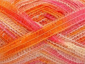 Fiber Content 50% Wool, 37% Polyamide, 13% Metallic Lurex, Pink, Orange Shades, Brand Ice Yarns, fnt2-65306