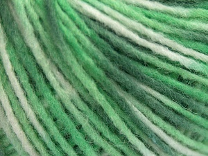 Fiber Content 50% Wool, 50% Acrylic, White, Brand Ice Yarns, Green Shades, fnt2-65364
