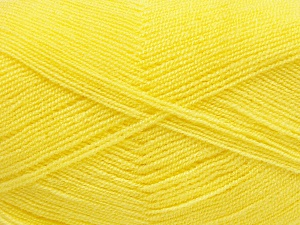 Very thin yarn. It is spinned as two threads. So you will knit as two threads. Yardage information is for only one strand. Fiber Content 100% Acrylic, Yellow, Brand Ice Yarns, fnt2-65382