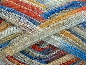 Fiber Content 50% Wool, 37% Polyamide, 13% Metallic Lurex, Brand Ice Yarns, Gold, Cream, Copper, Blue, fnt2-65426
