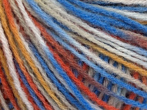 Wool Light Orange, Blue, White, Camel