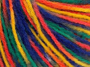 Wool Light  Blue, Orange, Green, Yellow