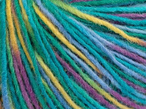 Fiber Content 50% Wool, 50% Acrylic, Yellow, Purple, Brand Ice Yarns, Green, Blue, fnt2-65483