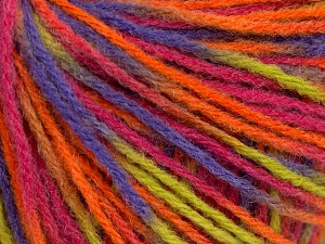 Wool Light Orange, Lilac, Light Green, Pink