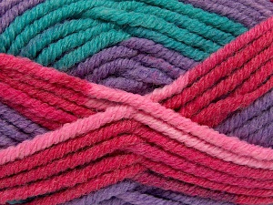 Fiber Content 50% Wool, 50% Acrylic, Turquoise, Red, Pink, Lilac, Brand Ice Yarns, fnt2-65645