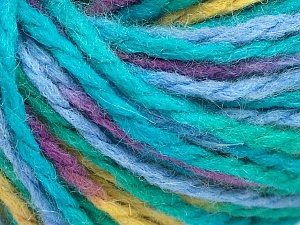Fiber Content 50% Wool, 50% Acrylic, Turquoise Shades, Purple, Light Green, Brand Ice Yarns, Yarn Thickness 4 Medium  Worsted, Afghan, Aran, fnt2-65654