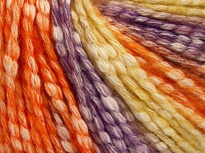 Fiber Content 77% Cotton, 23% Acrylic, Yellow, Purple, Orange, Brand Ice Yarns, Yarn Thickness 4 Medium  Worsted, Afghan, Aran, fnt2-65708