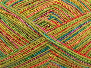 Fiber Content 50% Acrylic, 50% Wool, Turquoise, Orange Shades, Brand Ice Yarns, Green Shades, fnt2-65797