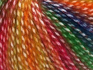 Fiber Content 40% Polyamide, 35% Acrylic, 15% Mohair, 10% Metallic Lurex, Red, Navy, Brand Ice Yarns, Green, Gold Shades, fnt2-65807
