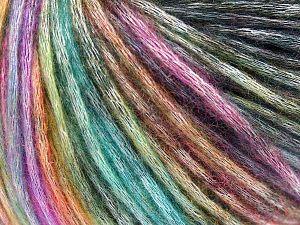 Fiber Content 50% Modal, 35% Acrylic, 15% Wool, Rainbow, Brand Ice Yarns, Black, fnt2-65850