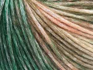 Fiber Content 50% Modal, 35% Acrylic, 15% Wool, Salmon Shades, Brand Ice Yarns, Green Shades, fnt2-65851