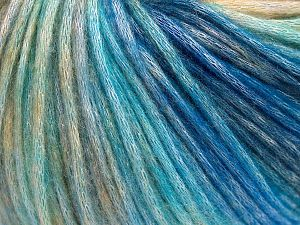 Fiber Content 50% Modal, 35% Acrylic, 15% Wool, Turquoise Shades, Brand Ice Yarns, Cream Shades, fnt2-65854
