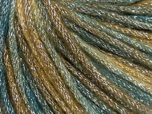 Fiber Content 40% Acrylic, 30% Metallic Lurex, 30% Wool, Teal, Khaki, Brand Ice Yarns, Brown, fnt2-65932
