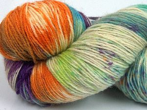 Please note that this is a hand-dyed yarn. Colors in different lots may vary because of the charateristics of the yarn. Also see the package photos for the colorway in full; as skein photos may not show all colors. Fiber Content 75% Super Wash Wool, 25% Polyamide, Purple, Orange, Brand Ice Yarns, Green Shades, Cream, fnt2-66012