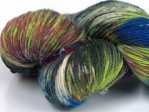 Please note that this is a hand-dyed yarn. Colors in different lots may vary because of the charateristics of the yarn. Also see the package photos for the colorway in full; as skein photos may not show all colors. Fiber Content 75% Super Wash Wool, 25% Polyamide, Brand Ice Yarns, Green Shades, Burgundy, Blue, fnt2-66017