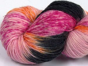 Please note that this is a hand-dyed yarn. Colors in different lots may vary because of the charateristics of the yarn. Also see the package photos for the colorway in full; as skein photos may not show all colors. Περιεχόμενο ίνας 75% Σουπερ πλυμένο μαλλί, 25% Πολυαμίδη, Pink Shades, Orange, Brand Ice Yarns, Black, fnt2-66034