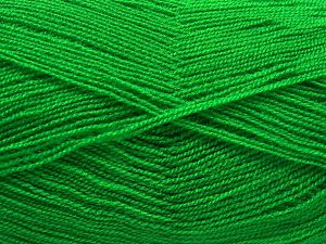 Very thin yarn. It is spinned as two threads. So you will knit as two threads. Yardage information is for only one strand. Fiber Content 100% Acrylic, Brand Ice Yarns, Green, fnt2-66136