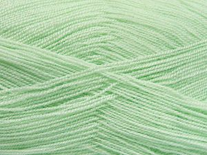 Very thin yarn. It is spinned as two threads. So you will knit as two threads. Yardage information is for only one strand. Fiber Content 100% Acrylic, Mint Green, Brand Ice Yarns, fnt2-66140