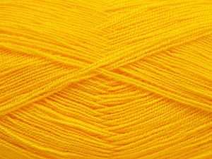 Very thin yarn. It is spinned as two threads. So you will knit as two threads. Yardage information is for only one strand. Fiber Content 100% Acrylic, Yellow, Brand Ice Yarns, fnt2-66148