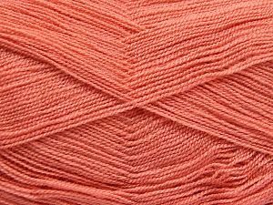 Very thin yarn. It is spinned as two threads. So you will knit as two threads. Yardage information is for only one strand. Fiber Content 100% Acrylic, Brand Ice Yarns, Dark Salmon, fnt2-66151