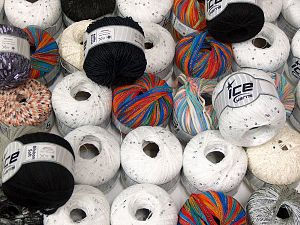 Summer Yarns This mixed lot includes a total of 2000 gr (70.5 oz.) yarn. There is no standard for ball weight. Also disregard any information on the labels. You will get what you see in the photo. Brand Ice Yarns, fnt2-66234