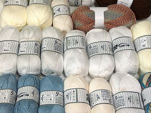 Acrylic Types This mixed lot includes a total of 2000 gr (70.5 oz.) yarn. There is no standard for ball weight. Also disregard any information on the labels. You will get what you see in the photo. Brand Ice Yarns, fnt2-66238