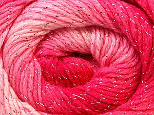 Fiber Content 95% Acrylic, 5% Lurex, Silver, Pink Shades, Brand ICE, Yarn Thickness 3 Light  DK, Light, Worsted, fnt2-22053