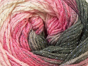 Fiber Content 95% Acrylic, 5% Lurex, White, Silver, Pink, Lilac, Brand ICE, Grey, Yarn Thickness 3 Light  DK, Light, Worsted, fnt2-22054