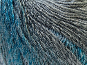 Fiber Content 50% Acrylic, 50% Wool, Turquoise, Brand ICE, Grey Shades, Yarn Thickness 3 Light  DK, Light, Worsted, fnt2-27152