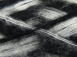 Fiber Content 70% Mohair, 30% Acrylic, White, Brand ICE, Black, Yarn Thickness 3 Light  DK, Light, Worsted, fnt2-35061