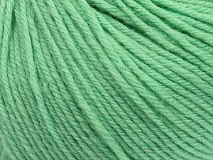 SUPERWASH WOOL is a DK weight 100% superwash wool yarn. Perfect stitch definition, and a soft-but-sturdy finished fabric. Projects knit and crocheted in SUPERWASH WOOL are machine washable! Lay flat to dry. Fiber Content 100% Superwash Wool, Mint Green, Brand ICE, Yarn Thickness 3 Light  DK, Light, Worsted, fnt2-42934