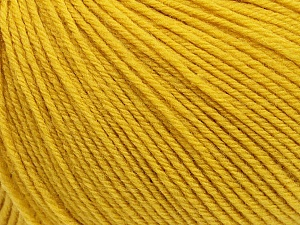 SUPERWASH WOOL is a DK weight 100% superwash wool yarn. Perfect stitch definition, and a soft-but-sturdy finished fabric. Projects knit and crocheted in SUPERWASH WOOL are machine washable! Lay flat to dry. Fiber Content 100% Superwash Wool, Brand ICE, Gold, Yarn Thickness 3 Light  DK, Light, Worsted, fnt2-42936