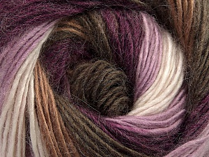 Fiber Content 40% Wool, 30% Acrylic, 30% Mohair, White, Purple, Lilac, Brand ICE, Brown Shades, Yarn Thickness 3 Light  DK, Light, Worsted, fnt2-45798