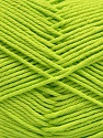 Baby cotton is a 100% premium giza cotton yarn exclusively made as a baby yarn. It is anti-bacterial and machine washable! Fiber Content 100% Giza Cotton, Neon Green, Brand ICE, Yarn Thickness 3 Light  DK, Light, Worsted, fnt2-53071