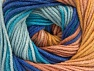 Fiber Content 55% Cotton, 45% Acrylic, Turquoise, Rose Brown, Brand ICE, Cafe Latte, Blue Shades, fnt2-63394