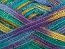 Fiber Content 50% Wool, 37% Polyamide, 13% Metallic Lurex, Yellow, Lilac, Brand Ice Yarns, Green, fnt2-65303