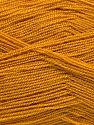 Very thin yarn. It is spinned as two threads. So you will knit as two threads. Yardage information is for only one strand. Fiberinnehåll 100% Akryl, Brand Ice Yarns, Dark Gold, fnt2-66150